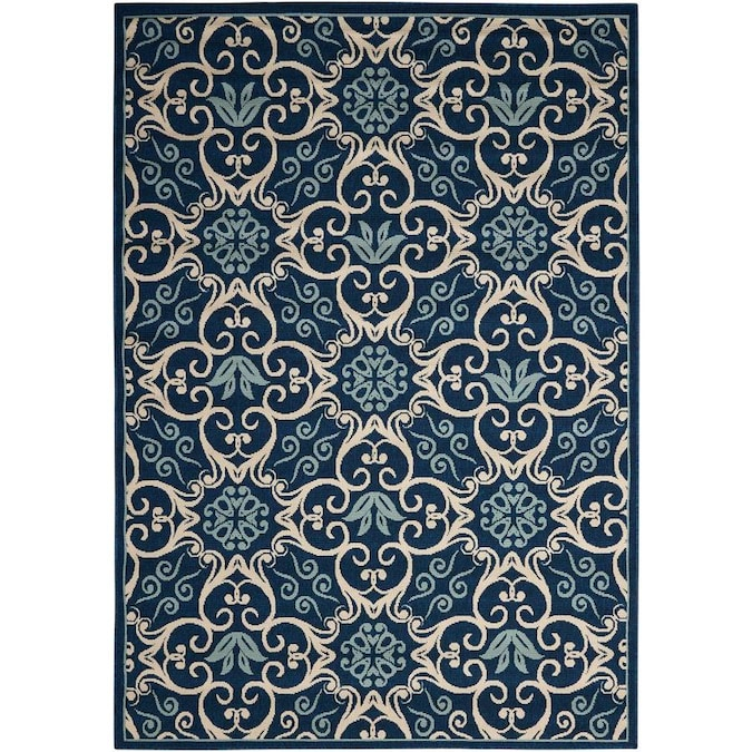 Nourison Caribbean 8 X 10 Navy Indoor Outdoor Abstract Coastal Area Rug In The Rugs Department At Lowes Com