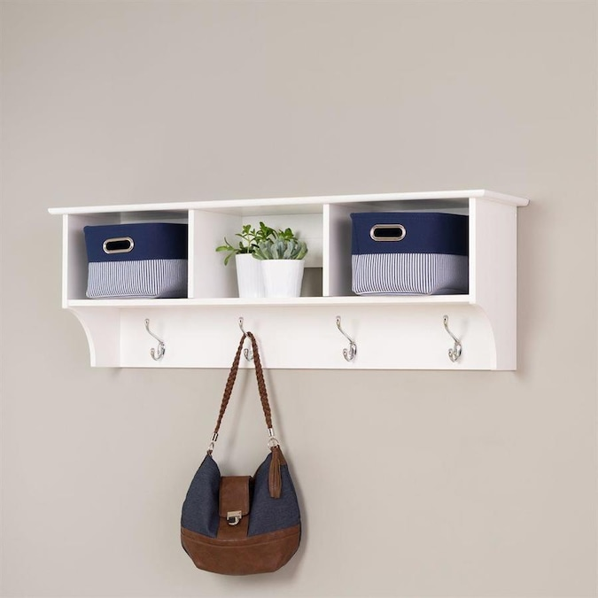 Prepac White 4 Hook Wall Mounted Coat Rack In The Coat Racks Stands Department At Lowes Com