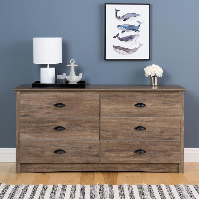 Prepac Salt Spring Drifted Gray 6 Drawer Dresser Tv Stand Dresser In The Dressers Department At Lowes Com