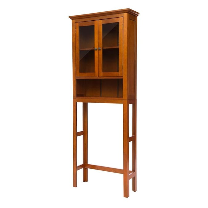 Glitzhome 24 In W X 68 26 In H X 7 5 In D Mahogany Brown Bathroom Wall Cabinet In The Bathroom Wall Cabinets Department At Lowes Com