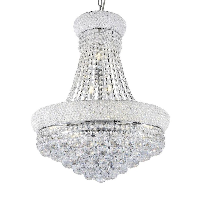 Ore International Adagio Empire 12 Light Silver Modern Contemporary Beaded Chandelier In The Chandeliers Department At Lowes Com