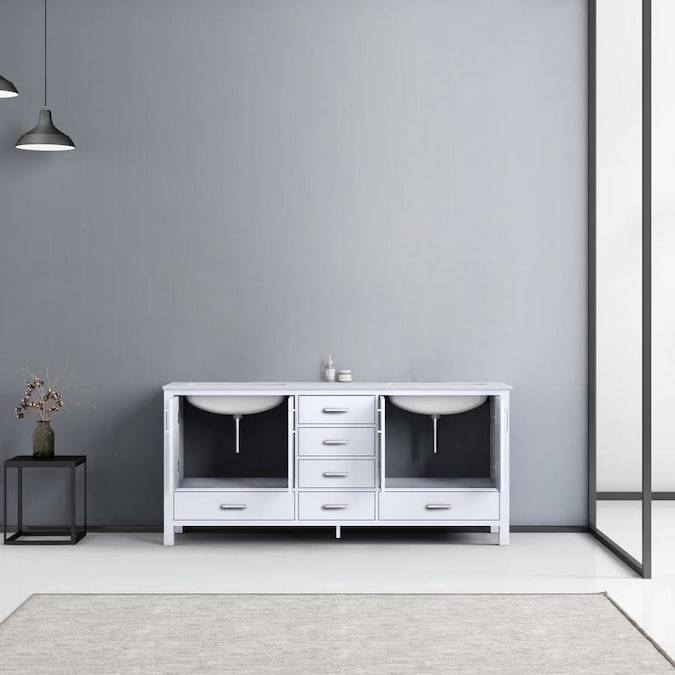 Lexora Jacques 72 In White Undermount Double Sink Bathroom Vanity With White Carrera Marble Top In The Bathroom Vanities With Tops Department At Lowes Com