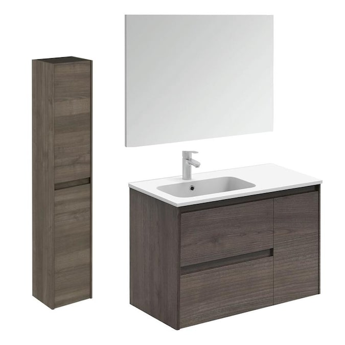 Ws Bath Collections Ambra 36 In Samara Ash Single Sink Bathroom Vanity With Ceramic White Ceramic Top Mirror Included In The Bathroom Vanities With Tops Department At Lowes Com