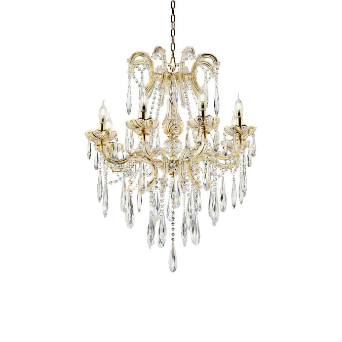 Ore International Lumiere 8 Light Gold Modern Contemporary Crystal Chandelier In The Chandeliers Department At Lowes Com
