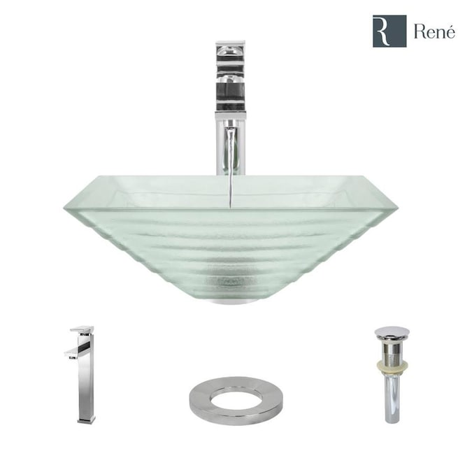 Rene Textured Tempered Glass Vessel Square Bathroom Sink With Faucet Drain Included 16 5 In X 16 5 In In The Bathroom Sinks Department At Lowes Com