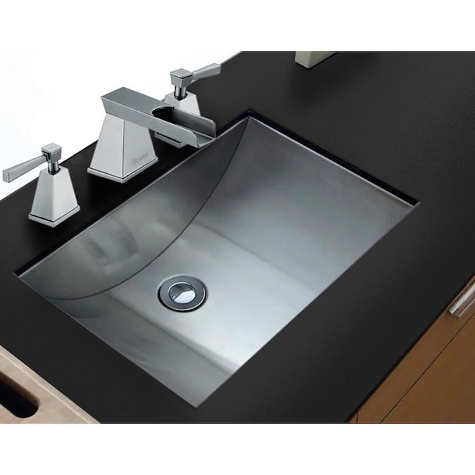 Ruvati Ariaso Brushed Stainless Steel Stainless Steel Undermount Rectangular Bathroom Sink Drain Included 20 In X 14 In In The Bathroom Sinks Department At Lowes Com