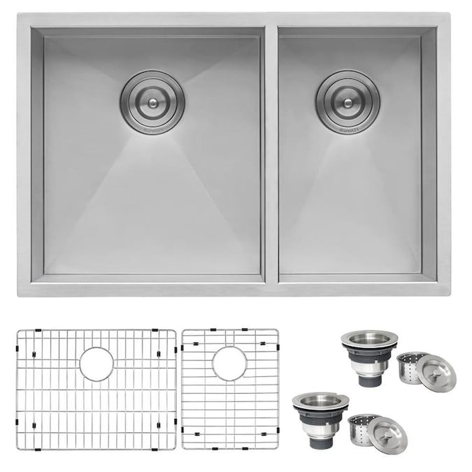 Rene Undermount 31 25 In X 20 5 In Stainless Steel Double Offset Bowl Kitchen Sink In The Kitchen Sinks Department At Lowes Com