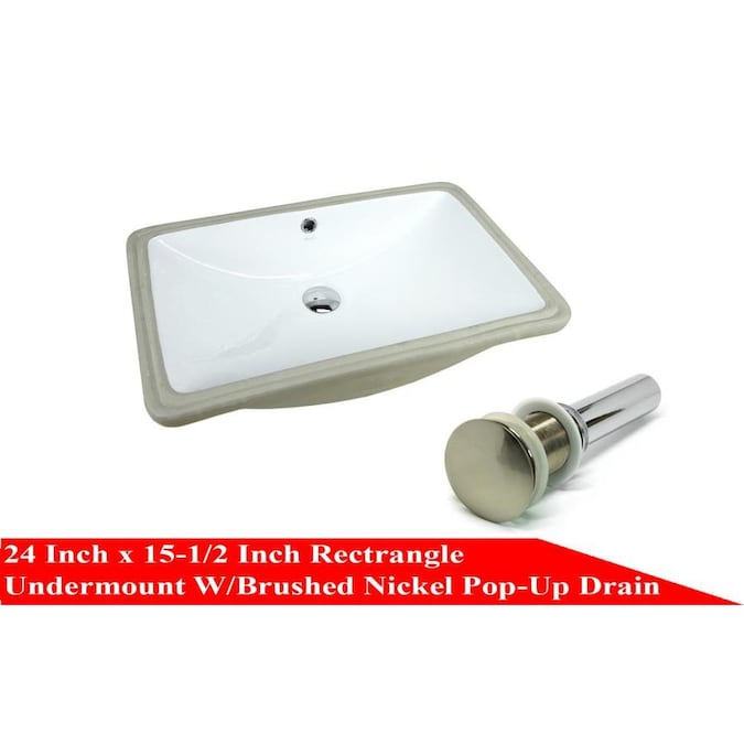 Kingsman Hardware White Ceramic Undermount Rectangular Bathroom Sink Drain Included 24 In X 15 5 In In The Bathroom Sinks Department At Lowes Com