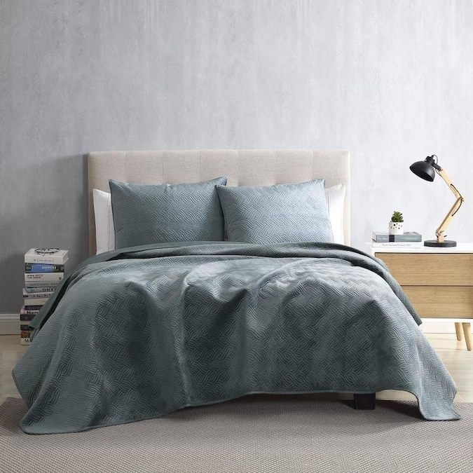 Piece Slate Blue Twin Quilt Set, Slate Blue And Gray Bedding