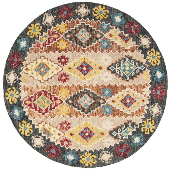 Safavieh Aspen Biel 7 X 7 Beige Charcoal Round Indoor Abstract Bohemian Eclectic Handcrafted Area Rug In The Rugs Department At Lowes Com