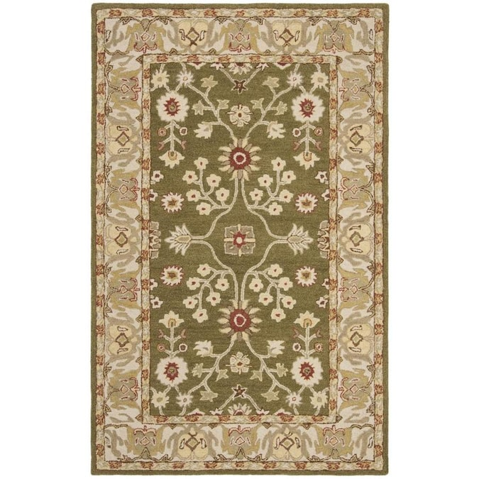 Safavieh Anatolia Zaza 4 X 6 Moss Ivory Indoor Floral Botanical Vintage Handcrafted Area Rug In The Rugs Department At Lowes Com
