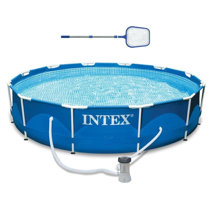 Intex 12 Ft X 12 Ft X 30 In Round Above Ground Pool In The Above Ground Pools Department At Lowes Com