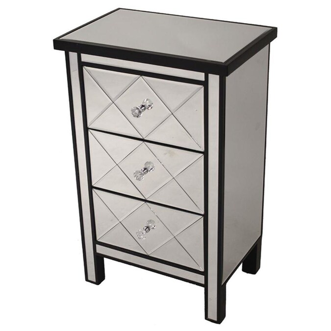 Homeroots 31 Ft Black Wood Accent, Accent Cabinet With Drawers
