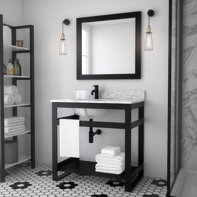 Spa Bathe Metalim 36 In Matte Black Single Sink Bathroom Vanity With White Ceramic Top In The Bathroom Vanities With Tops Department At Lowes Com