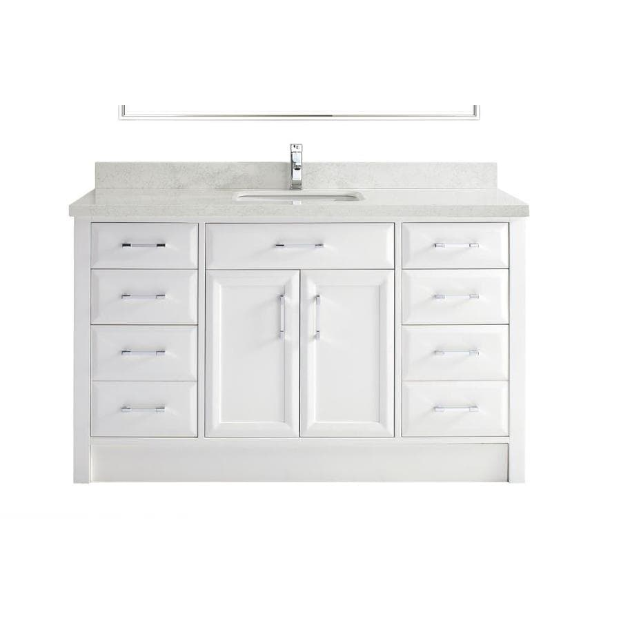 Spa Bathe Calumet 60-in White Undermount Single Sink Bathroom Vanity With  White With Grey Veins Engineered Stone Top In The Bathroom Vanities With  Tops Department At Lowes.com