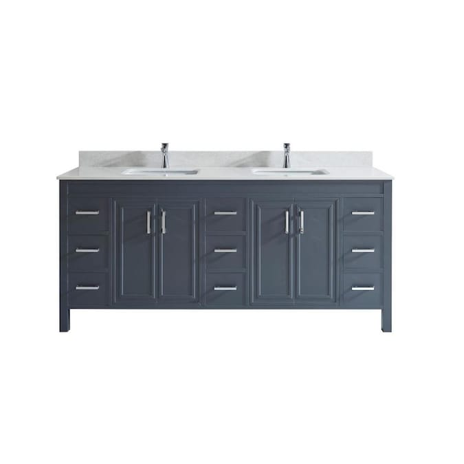 Spa Bathe Cora 75 In Pepper Gray Double Sink Bathroom Vanity With White With Grey Veins Engineered Stone Top In The Bathroom Vanities With Tops Department At Lowes Com