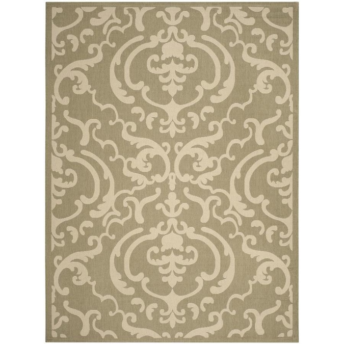 Safavieh Courtyard Damask Medallion 9 X 12 Olive Natural Indoor Outdoor Floral Botanical Coastal Area Rug In The Rugs Department At Lowes Com