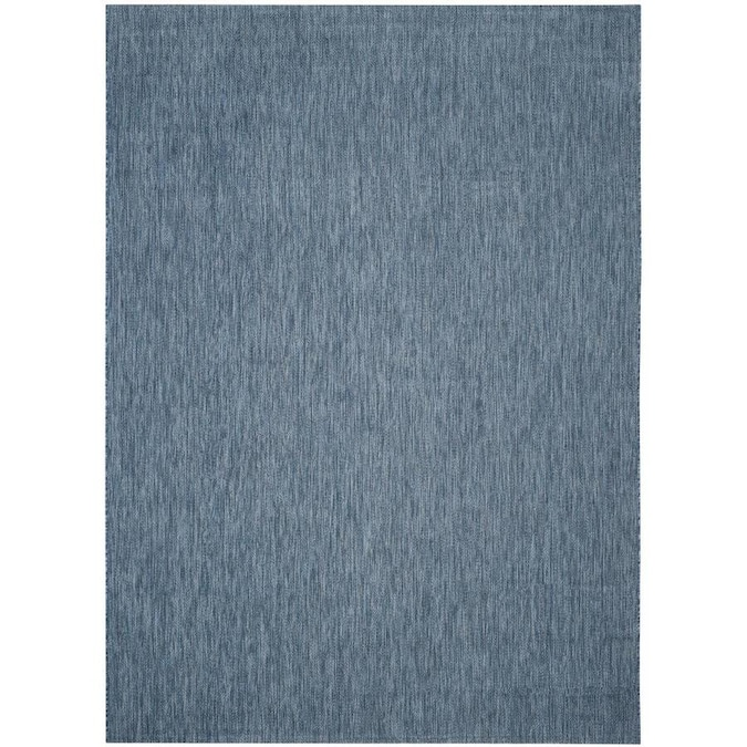 Unique Loom Solid Outdoor 9 X 12 Teal Navy Blue Indoor Outdoor Distressed Overdyed French Country Area Rug In The Rugs Department At Lowes Com