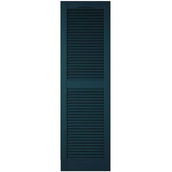Ekena Millwork Lifetime Custom Cathedral Top Center Mullion 2 Pack 18 In W X 74 In H Midnight Blue Louvered Vinyl Exterior Shutters In The Exterior Shutters Department At Lowes Com