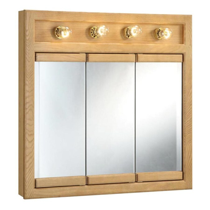 Design House Richland 30 In X 30 In Lighted Incandescent Surface Honey Oak Mirrored Rectangle Medicine Cabinet In The Medicine Cabinets Department At Lowes Com