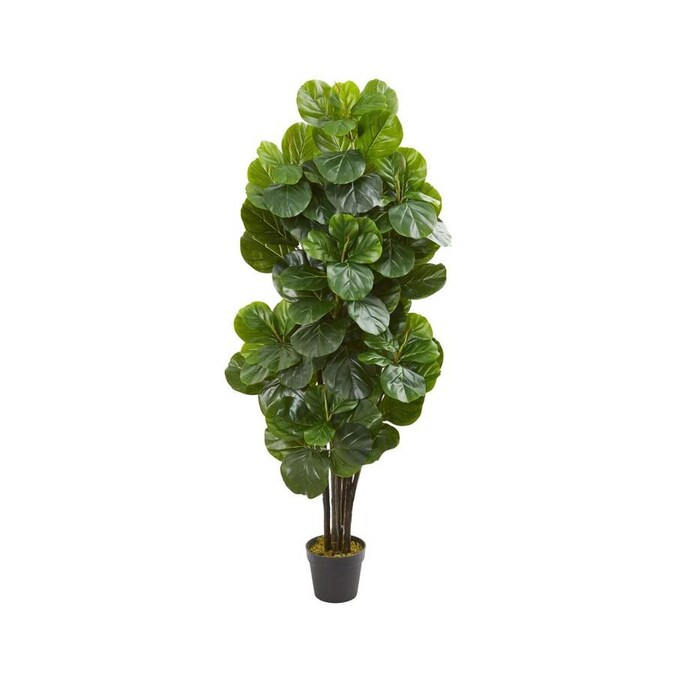 Nearly Natural 60 In Green Artificial Fiddle Leaf Trees In The Artificial Plants Flowers Department At Lowes Com