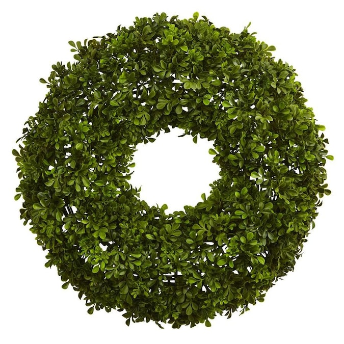 Nearly Natural 22 In Green Artificial Boxwood Wreaths In The Artificial Plants Flowers Department At Lowes Com