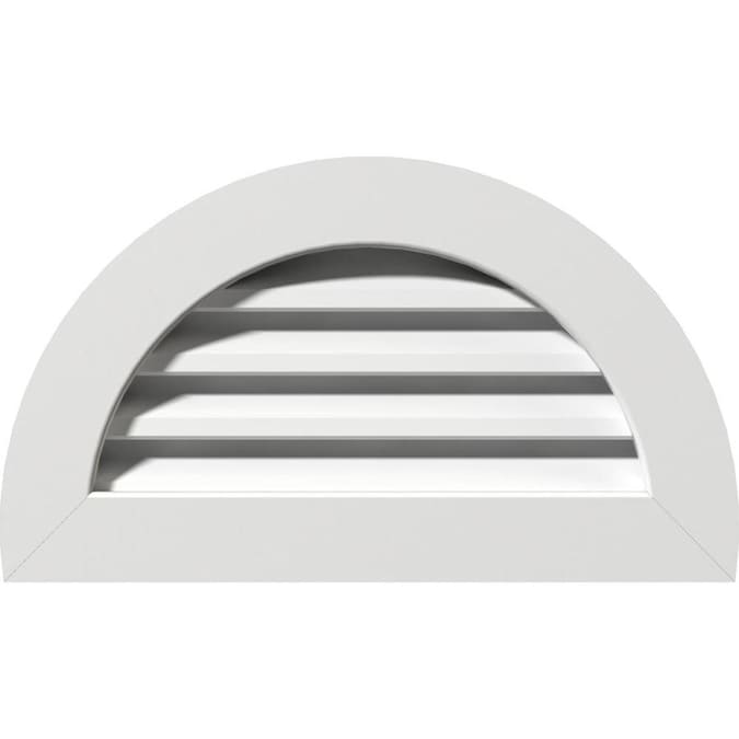 Ekena Millwork 14 In W X 07 In H Half Round Gable Vent 19 In W X 12 In H Frame Size Functional Pvc Gable Vent W 1 In X 4 In Flat Trim Frame In The Gable Vents