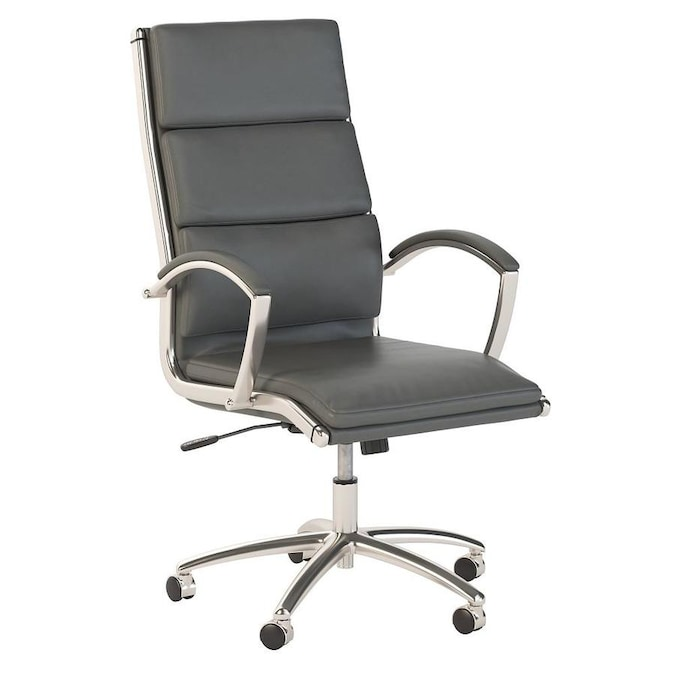 Bush Business Furniture Conference Table Chair Dark Gray Leather Contemporary Ergonomic Adjustable Height Swivel Desk Chair In The Office Chairs Department At Lowes Com