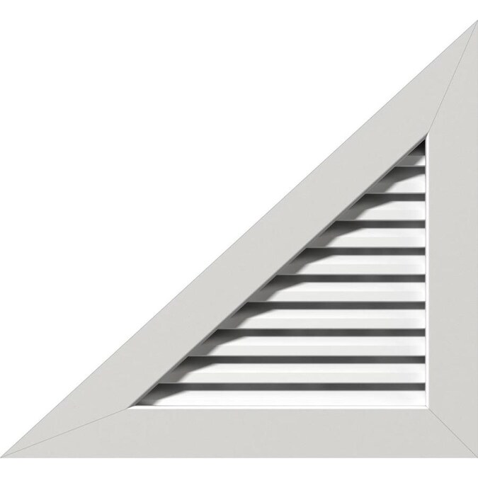 Ekena Millwork 20 In W X 10 In H Right Triangle Gable Vent Left Side 31 3 4 In W X 15 7 8 In H Frame Size 6 12 Pitch Functional Pvc Gable Vent W 1 In X 4 In Flat Trim Frame