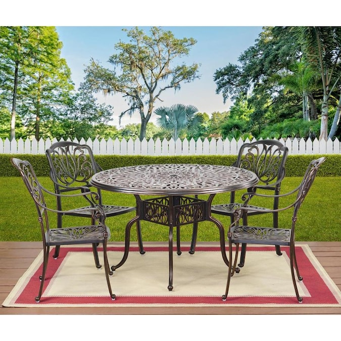 Round Outdoor Dining Table 48 In W X, Outdoor Patio Table And Chairs With Umbrella Hole