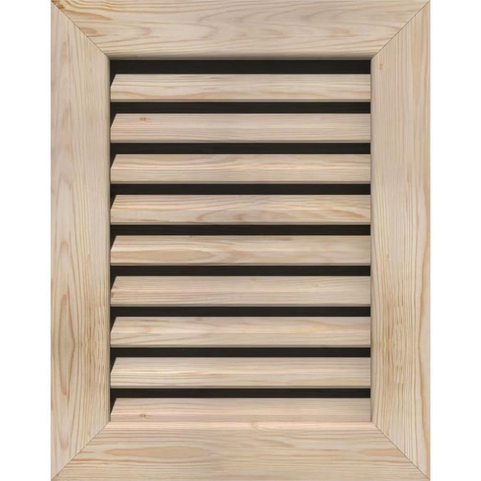Ekena Millwork 16 In W X 14 In H Vertical Gable Vent 21 In W X 19 In H Frame Size Unfinished Functional Smooth Pine Gable Vent W 1 In X 4 In Flat Trim Frame In The Gable