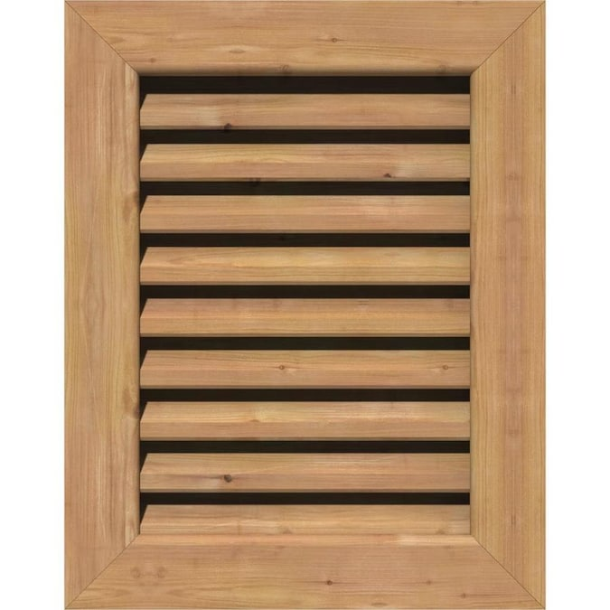 Ekena Millwork 18 In W X 24 In H Vertical Gable Vent 23 In W X 29 In H Frame Size Unfinished Functional Smooth Western Red Cedar Gable Vent W Brick Mould Face Frame In The Gable