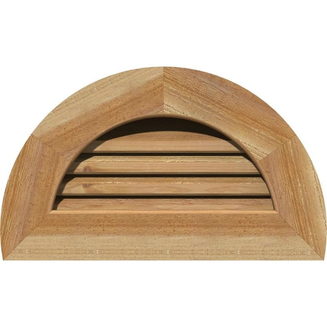 Ekena Millwork 34 In W X 17 In H Half Round Gable Vent 39 In W X 22 In H Frame Size Unfinished Functional Smooth Western Red Cedar Gable Vent W 1 In X 4 In Flat Trim Frame