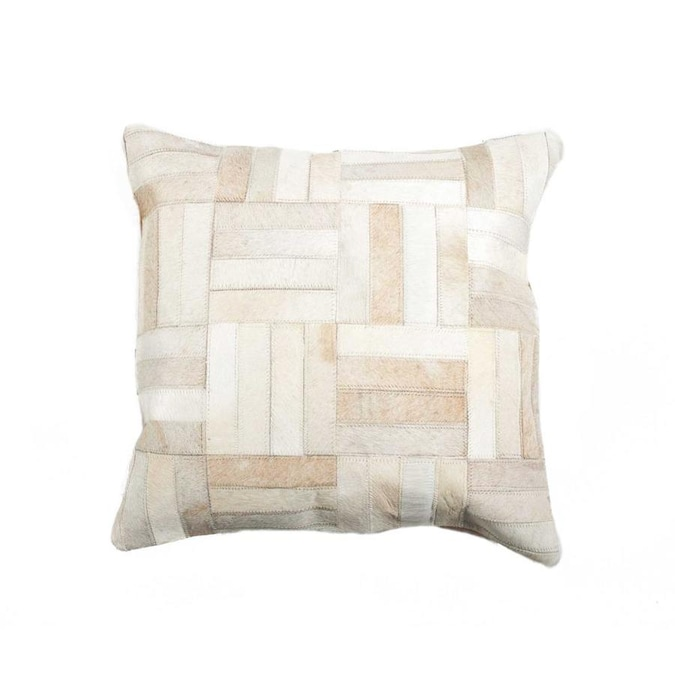 Homeroots 18 In X 18 In X 5 In Natural Parquet Cowhide Pillow In The Throw Pillows Department At Lowes Com