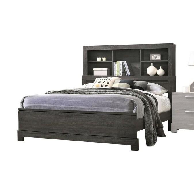 Acme Furniture Lantha Gray Oak Queen, Landen Queen Upholstered Platform Bed