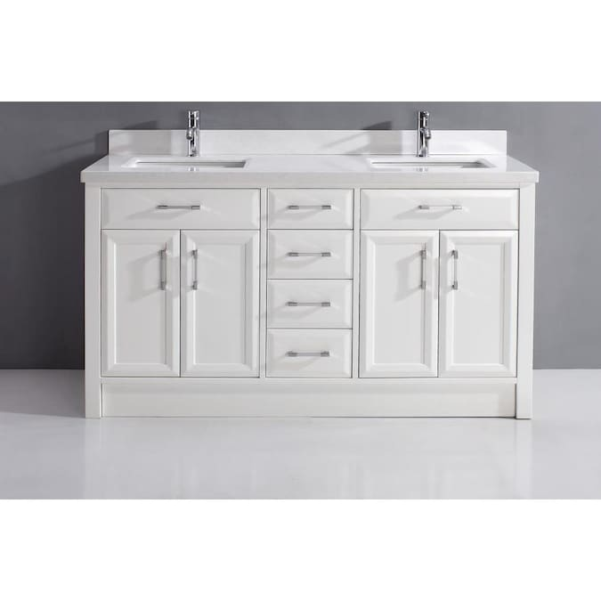 Spa Bathe Calumet 63 In White Undermount Double Sink Bathroom Vanity With White With Grey Veins Engineered Stone Top In The Bathroom Vanities With Tops Department At Lowes Com