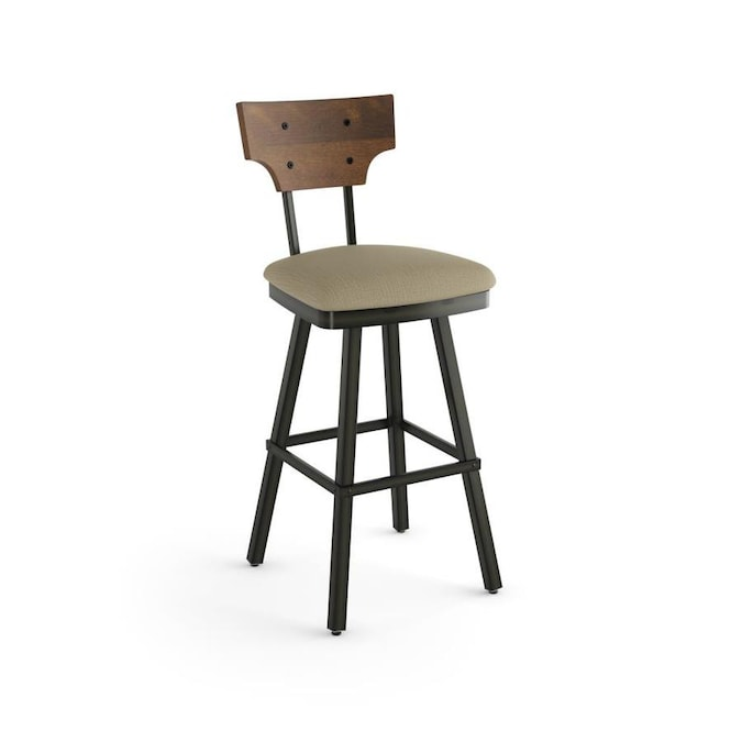 Amisco Gustavson Beige Counter Height Upholstered Swivel Bar Stool In The Bar Stools Department At Lowes Com