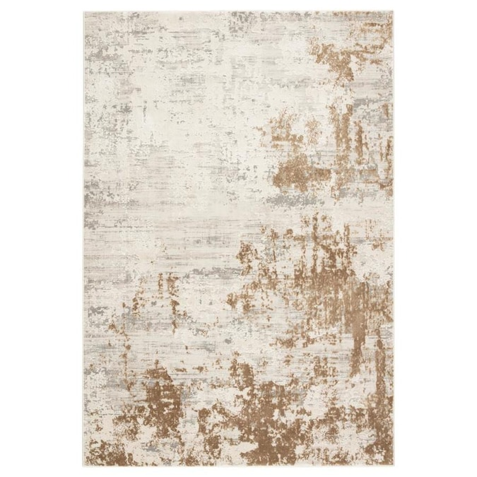 Cortes 8 X 10 Gray Gold Indoor Abstract Industrial Area Rug In The Rugs Department At Lowes Com