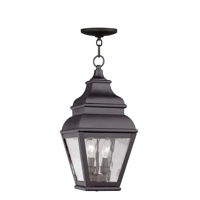 Livex Lighting 2 Light Bronze Outdoor Pendant Lantern In The Pendant Lighting Department At Lowes Com