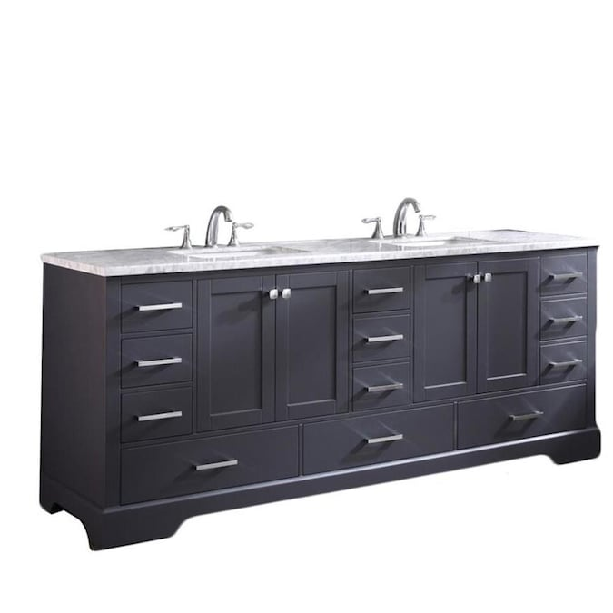 Eviva Storehouse 82 In Deep Gray Undermount Double Sink Bathroom Vanity With White Acrylic Top In The Bathroom Vanities With Tops Department At Lowes Com