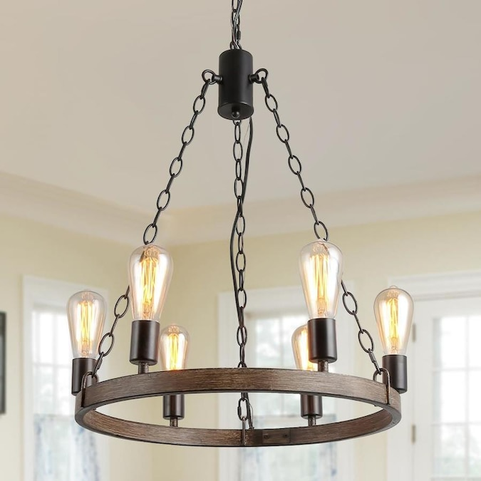 Lnc Breton 6 Light Brown Farmhouse Shell Chandelier In The Chandeliers Department At Lowes Com