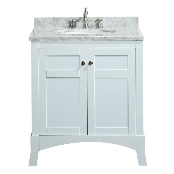 Eviva New York 30 In White Undermount Single Sink Bathroom Vanity With White Marble Top In The Bathroom Vanities With Tops Department At Lowes Com