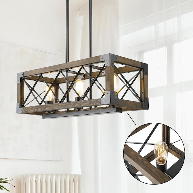 Lnc Livia Nature Wood Brown And Black Farmhouse Seeded Glass Linear Kitchen Island Light In The Pendant Lighting Department At Lowes Com