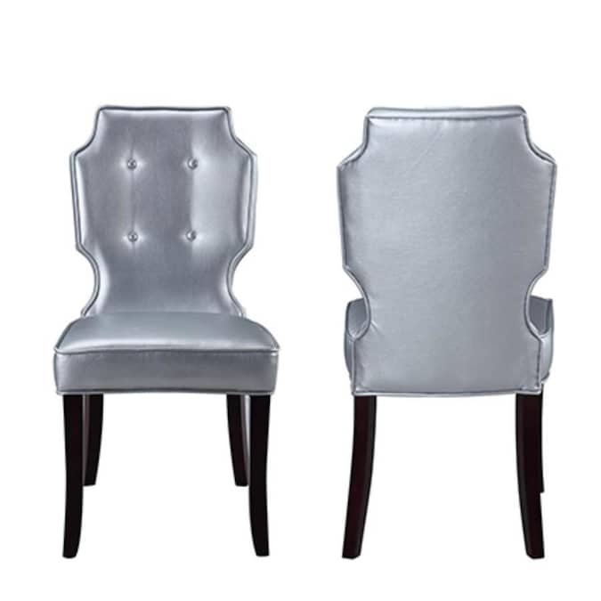Chic Home Design Set Of 2 Lennon Faux Leather Upholstered Dining Side Chair Wood Frame In The Dining Chairs Department At Lowes Com