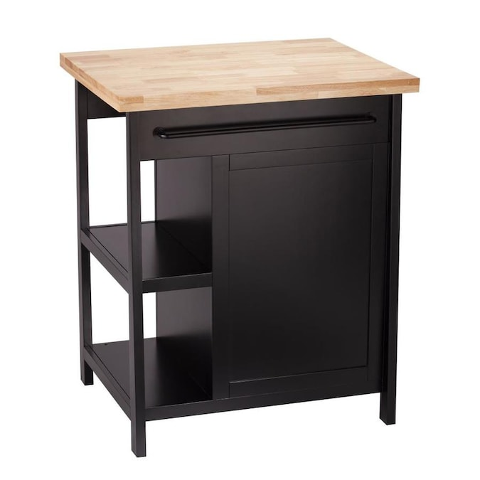 Boston Loft Furnishings Black Composite Base With Wood Butcher Block Top Kitchen Island 30 In X 23 75 In X 36 In In The Kitchen Islands Carts Department At Lowes Com