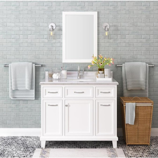 Kenston 42 In White Undermount Single Sink Bathroom Vanity With New Ariston Quartz Top In The Bathroom Vanities With Tops Department At Lowes Com