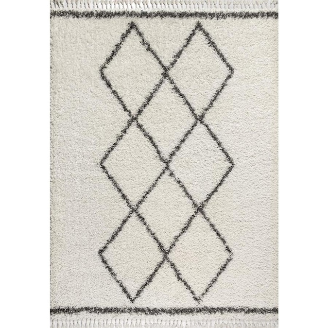 Jonathan Y Mercer Shag 8 X 10 Cream Grey Indoor Trellis Area Rug In The Rugs Department At Lowes Com