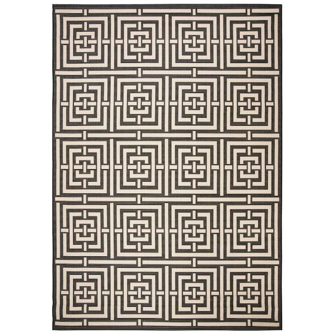 Safavieh Courtyard Beacon 9 X 12 Black Bone Indoor Outdoor Geometric Area Rug In The Rugs Department At Lowes Com
