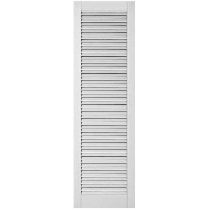 Ekena Millwork Lifetime Custom Straight Top All Louver 2 Pack 18 In W X 60 In H Paintable Louvered Vinyl Exterior Shutters In The Exterior Shutters Department At Lowes Com