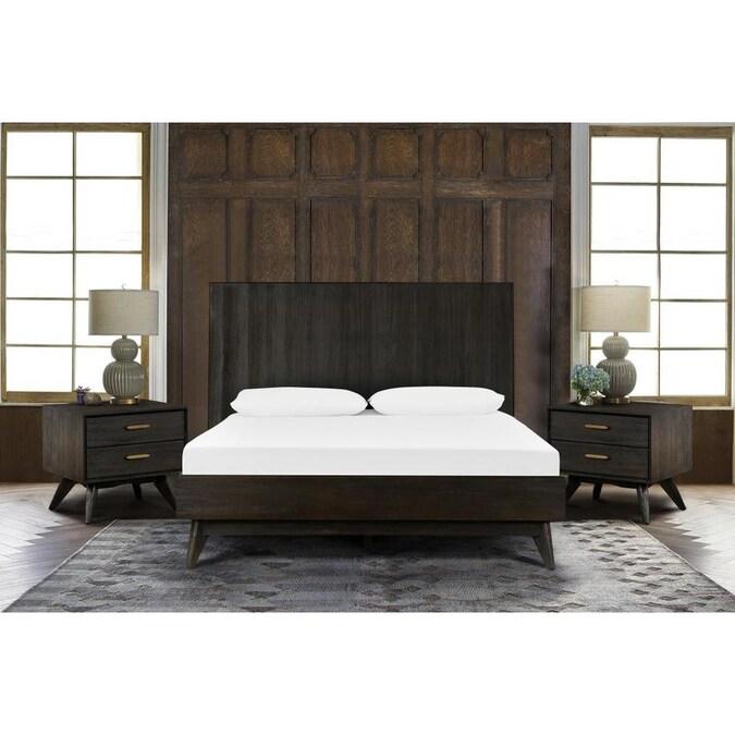 Armen Living Loft 3 Piece Acacia Queen, Queen Bed With Nightstands